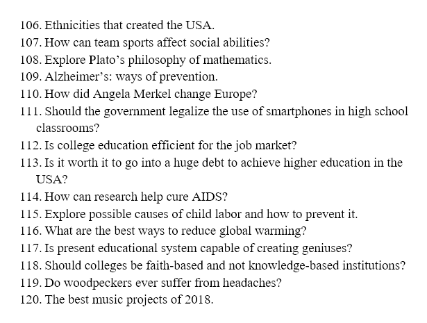 Topics Examples For Term Paper